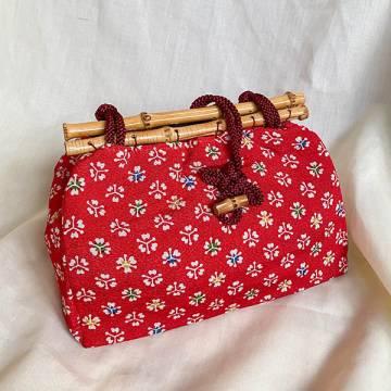 Japanese Kimono handbag with Bamboo Frames in Cherry Blossom