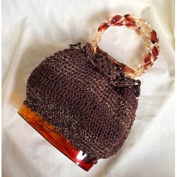 Crochet Drawstring Bag with Tortoise Shell Base & Hoop Handles