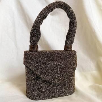 Gold Fabric Lurex Box Vanity Bag