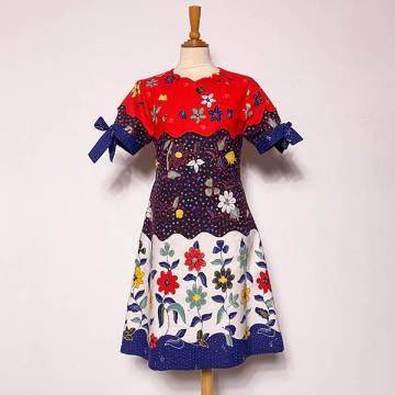 Batik Colour Block Floral Dress